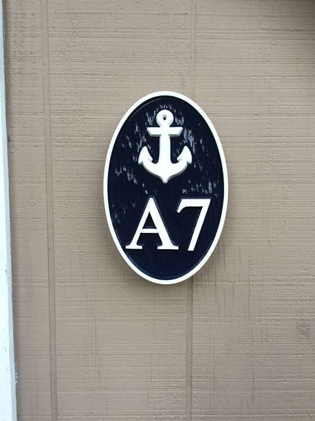 Custom oval house number and letter sign with anchor
