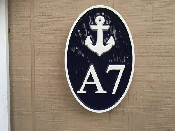 Custom made oval house number and letter sign with anchor