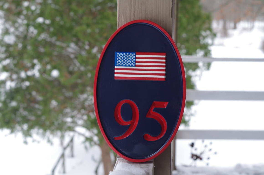 Carved Street Address plaque / House number with American Flag or other image (A137) - The Carving Company