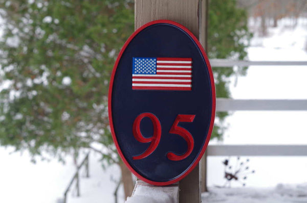 American Flag custom carved house number 95 sign