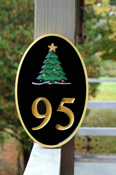 Holiday Christmas Tree House number sign