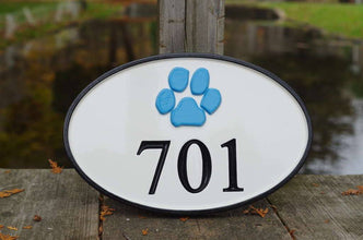 Carved Street Address plaque / House number with Paw print or other stock image (A123) - The Carving Company