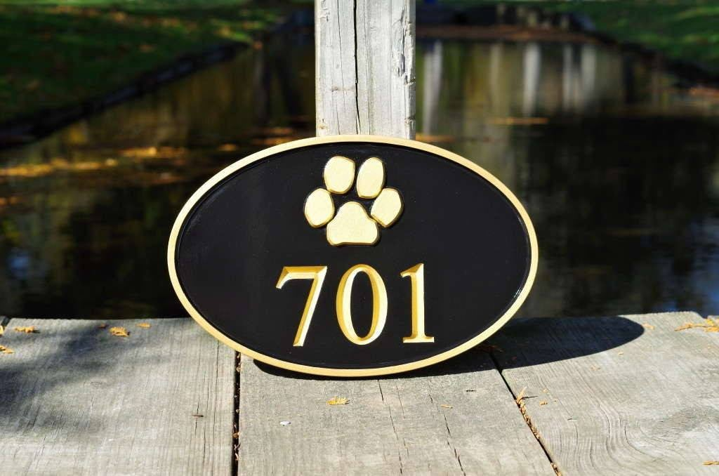 house number signs modern sign carved street address plaque paw print stock image vertical for vinyl siding