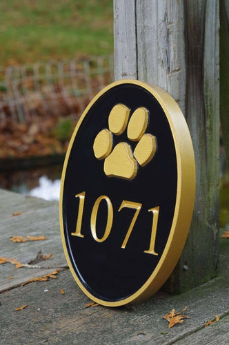 Carved Street Address plaque / House number with Paw print or other stock image (A141) - The Carving Company