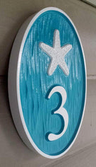 Carved Street Address plaque / House number with whale or other sea image (A24) - The Carving Company