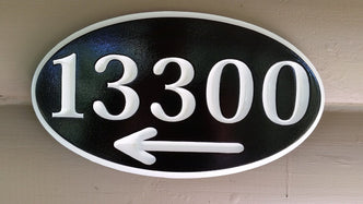 Custom Carved House Marker Plaque- Street address Sign with Directional arrow (A158) - The Carving Company