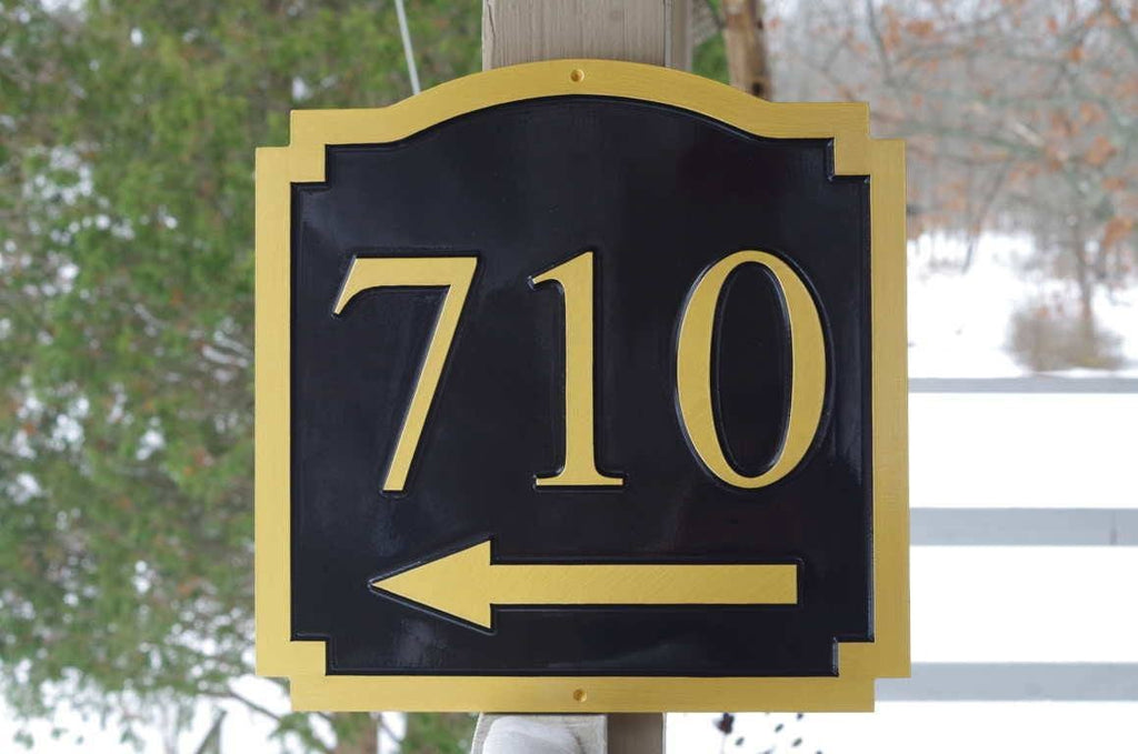 Custom Carved House Number - Street address Sign with Arrow (A157) - The Carving Company