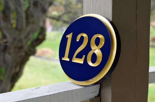 Custom made oval house number painted navy blue and gold