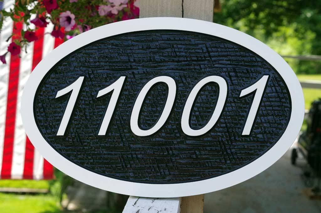 Custom Carved Street Address sign / House number -Made to Order (A109) - The Carving Company
