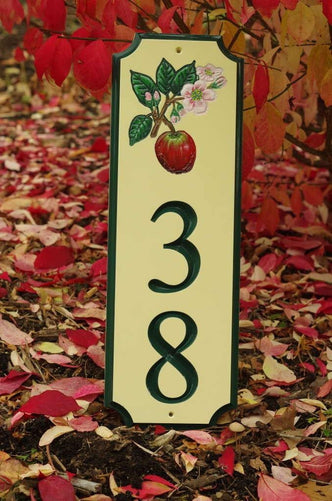 Custom Carved Street Address sign / House number with Apple and Blossom (A122) - The Carving Company