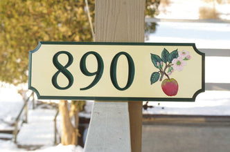 Custom Carved Street Address sign / House number with Apple and Blossom (A25) - The Carving Company