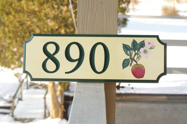 Custom address sign with apple blossom image