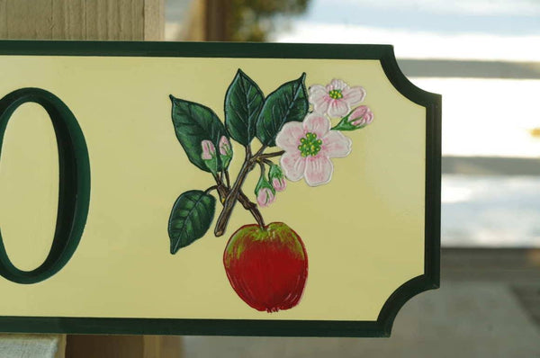 close up of Custom address sign with apple blossom image