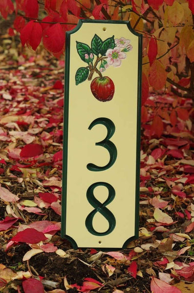 Custom address sign with apple blossom image and number 38 painted yellow and green