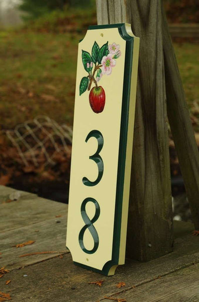Side view of Custom address sign with apple blossom image and number 38