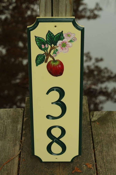 Custom address sign with apple blossom image and number 38