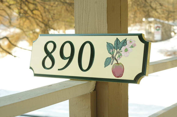 Custom address sign with apple blossom image and number 890