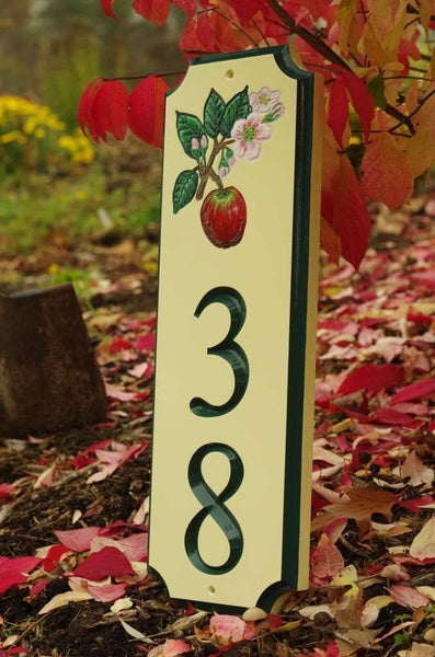 Custom address sign with apple blossom image and number 38 in fall setting