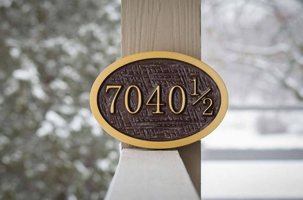 7040 1/2 house number sign oval brown and gold