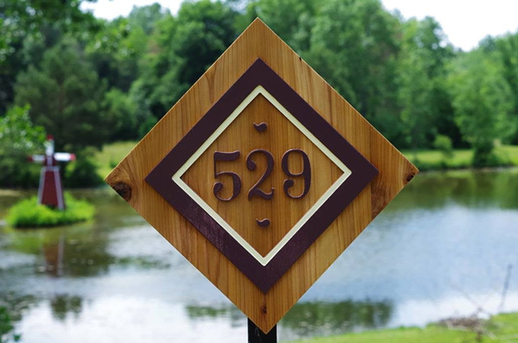 Diamond shaped Custom Carved House Number Sign - Made to Order- Wood signage (A107) - The Carving Company