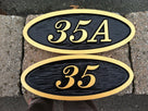 Made to Order- Custom Carved Oval Address number  - House Plaque with Letter or Special Character  (A153) - The Carving Company