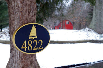 Nautical Carved Street Address plaque / House number with catboat or sailboat (A154) - The Carving Company