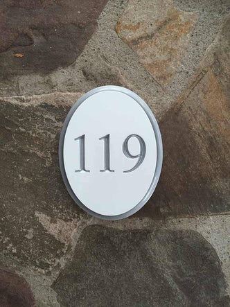 Oval Address Sign - Custom Carved House Number - Vertical (A103) - The Carving Company