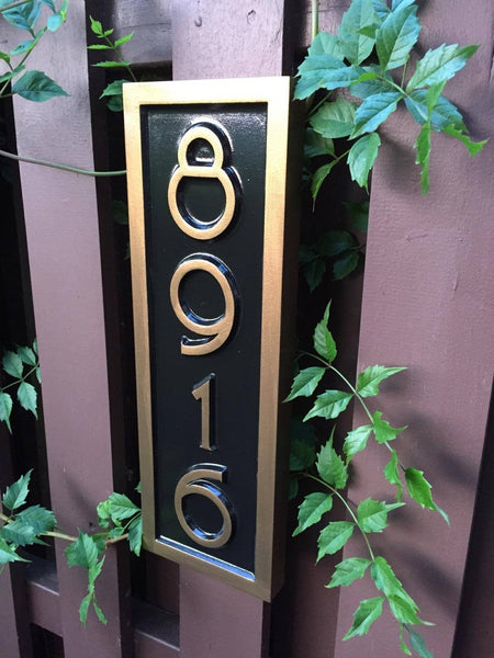 House number sign 8916 in black and bronze mid century modern font