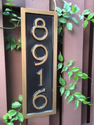 Custom made house number sign 8916 in black and bronze mid century modern font