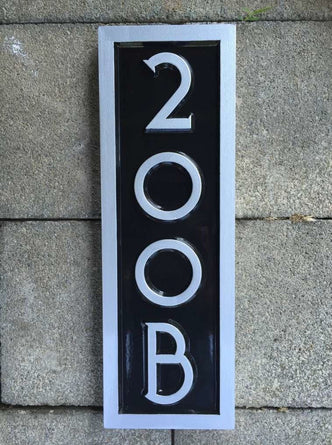 Custom made address number with letter rectangular vertical sign
