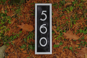 vertical house number mid century modern font