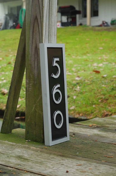 Vertical House Number Plaque With Mid Century Modern Font