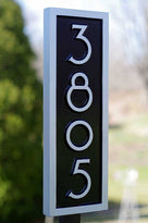 House number sign 3805 in black and silver mid century modern font