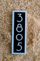 House number sign 3805 in black and silver mid century modern font rectangle shape
