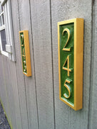 3 digit vertical house number signs green and gold