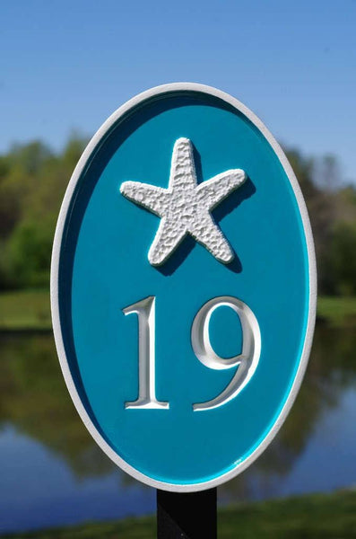 Custom carved house number sign with starfish image