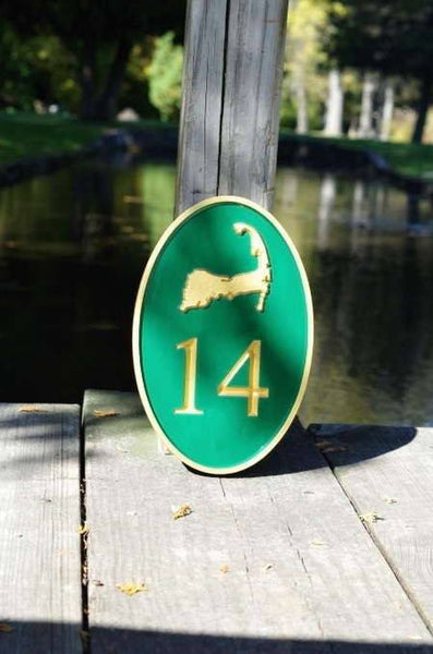Custom carved house number sign with Cape Cod image