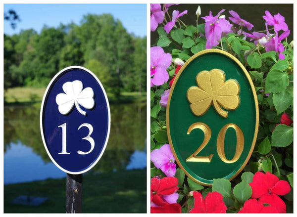 Double picture of Custom carved house number sign with shamrock image