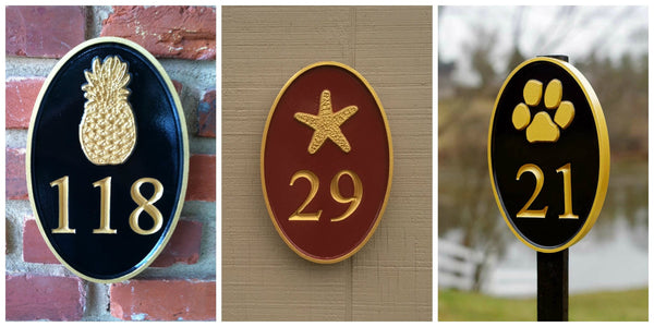 three pictures of oval house number signs with pineapple and starfish and paw print carved on each one