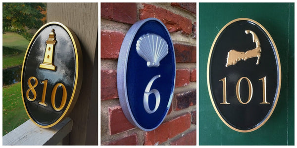 three pictures of oval house number signs with lighthouse and scallop shell and Cape Cod carved on each one