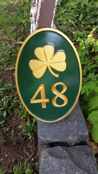 2 number house address plaque with shamrock