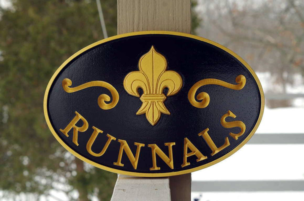 Custom carved last name sign with fleur de lis