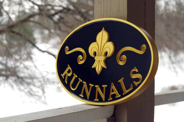 Custom carved last name sign with fleur-de-lis