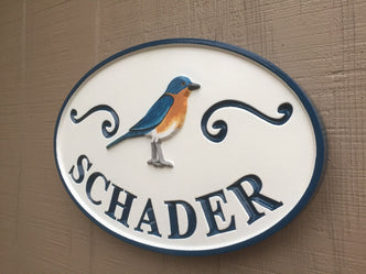 Personalized Last Name Entrance Sign With Eastern Blue Bird or other bird (LN31) - The Carving Company