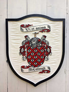 Mccullough Family Coat of Arms carved and painted