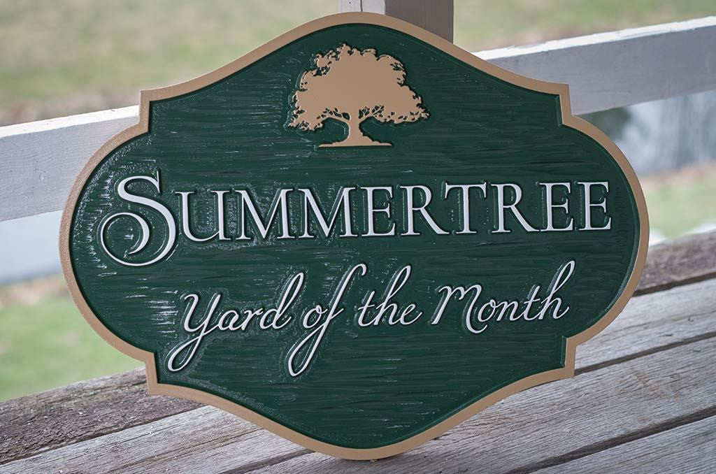 Yard of the month green and tan with tree sign horizontal shape for neighborhood