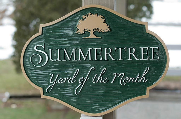 alt view Yard of the month green and tan with tree sign horizontal shape for neighborhood