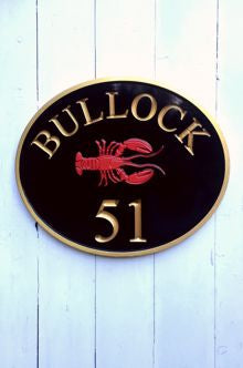 Oval house number sign with lobster front