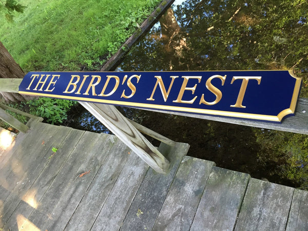 The Birds Nest quarterboard sign