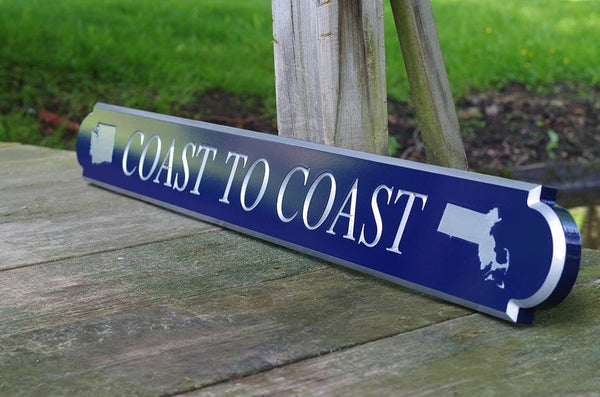 Custom Carved quarterboard with MA and WA on it saying Coast to Coast side view